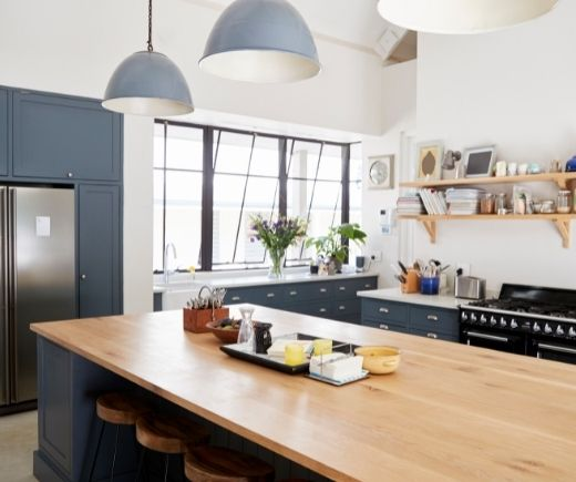 cool and refreshing grey toned kitchen with wood benchtop | Wollongong Kitchen Renovations