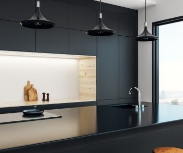 a crisp and clean black benchtop in a contemporary kitchen | Wollongong Kitchen Renovations